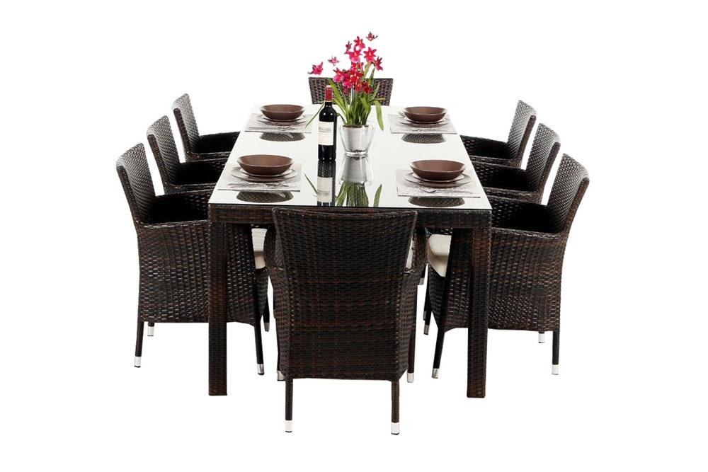 rattan esstisch set 220cm atlanta mix brown. Black Bedroom Furniture Sets. Home Design Ideas