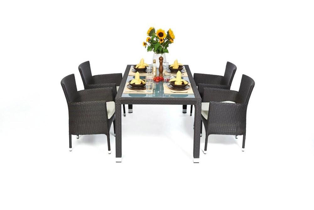 rattan esstisch set 160cm boston dark brown. Black Bedroom Furniture Sets. Home Design Ideas