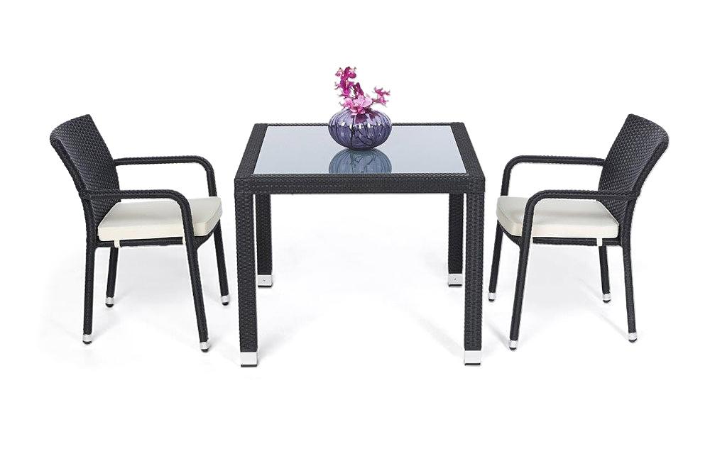 rattan tisch set 90cm florida black. Black Bedroom Furniture Sets. Home Design Ideas
