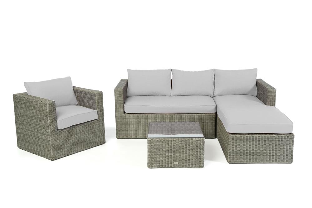polsterbezug passend zu polyrattan lounge galicia berzugsset in grau. Black Bedroom Furniture Sets. Home Design Ideas