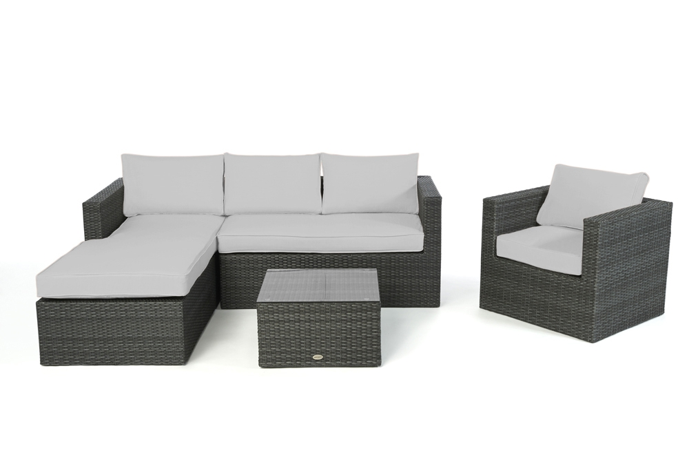 polsterbezug passend zu rattan lounge rechts galicia berzugsset in grau. Black Bedroom Furniture Sets. Home Design Ideas