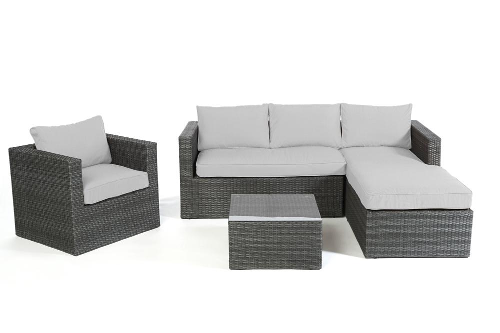 Rattan lounge schwarz grau  Polsterbezug passend zu Rattan Lounge Galicia. Überzugsset in Grau.