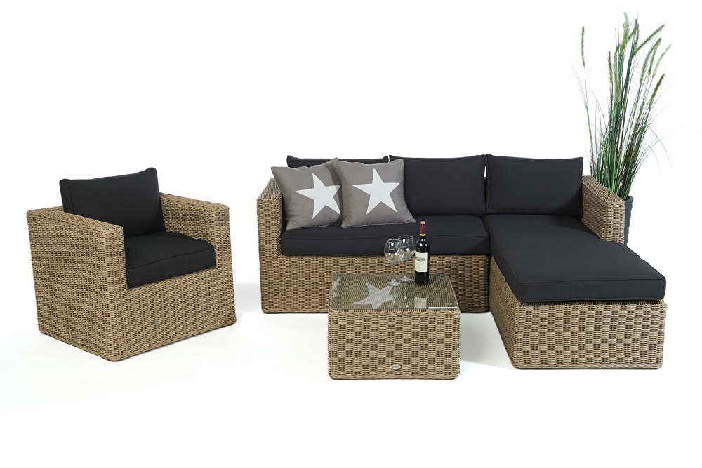 rattan lounge gartenm bel rattan kunststoffgeflecht galicia natural round. Black Bedroom Furniture Sets. Home Design Ideas