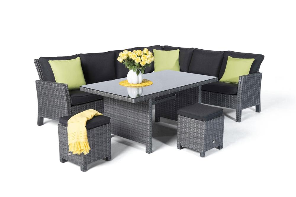 rattan tisch lounge dining kamerun mix grau. Black Bedroom Furniture Sets. Home Design Ideas