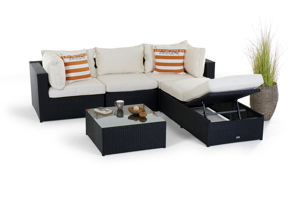 rattan gartenm bel lounge biarritz schwarz hochwertiges gartenm bel set mit viel. Black Bedroom Furniture Sets. Home Design Ideas