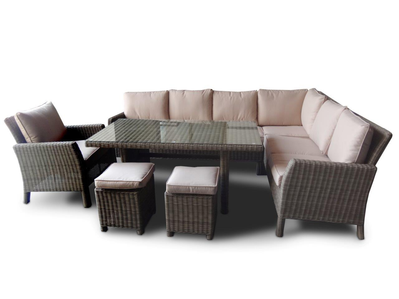 rattan gartentisch rattan sitzgruppe rattan ecklounge rattan lounge dining romeo natural round. Black Bedroom Furniture Sets. Home Design Ideas