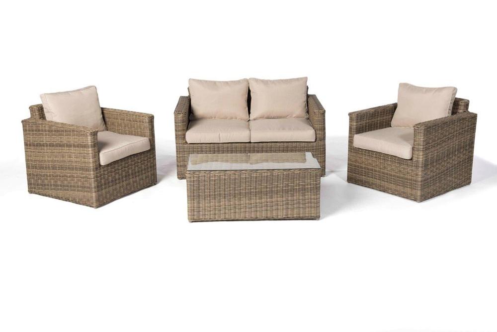 Rattan Lounge Medina natural round - Hochwertiges Gartenmöbel Set