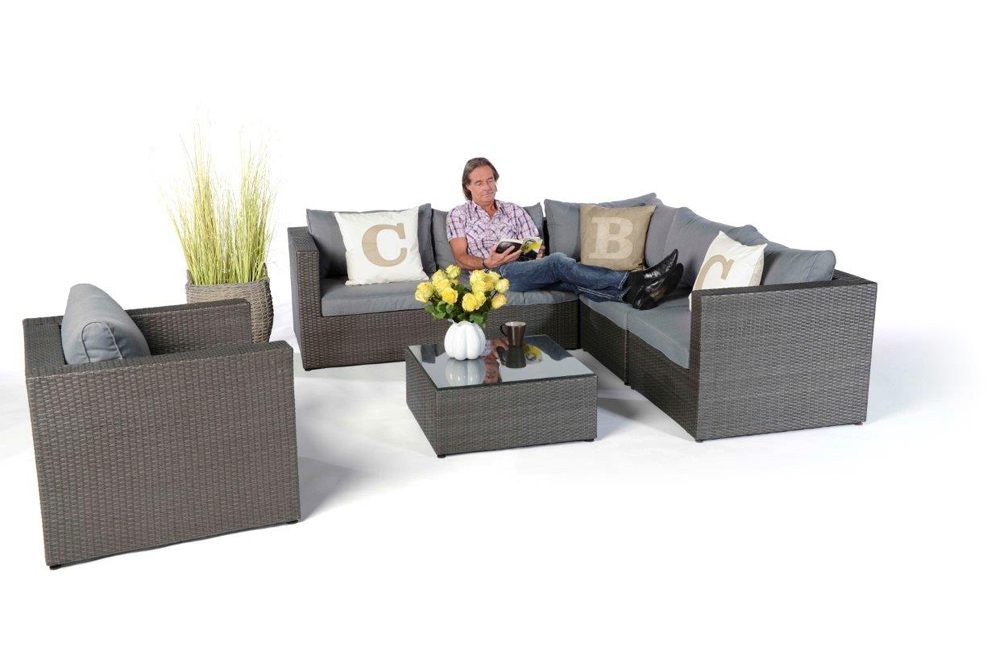 rattan gartenm bel lounge monroe mix grau hochwertiges gartenm bel set mit viel. Black Bedroom Furniture Sets. Home Design Ideas