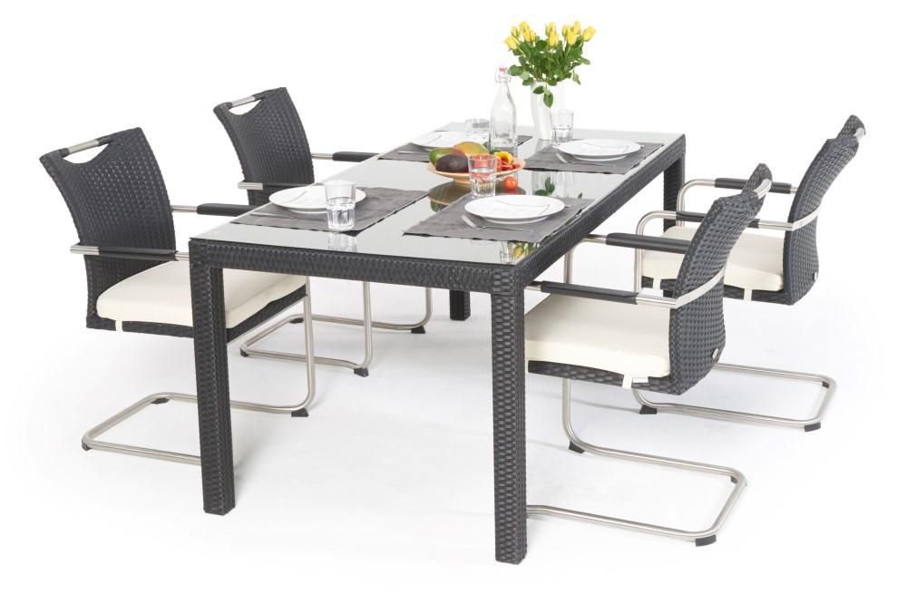 sch ner rattan gartentisch 180 cm mit 4 st hlen nevia set. Black Bedroom Furniture Sets. Home Design Ideas
