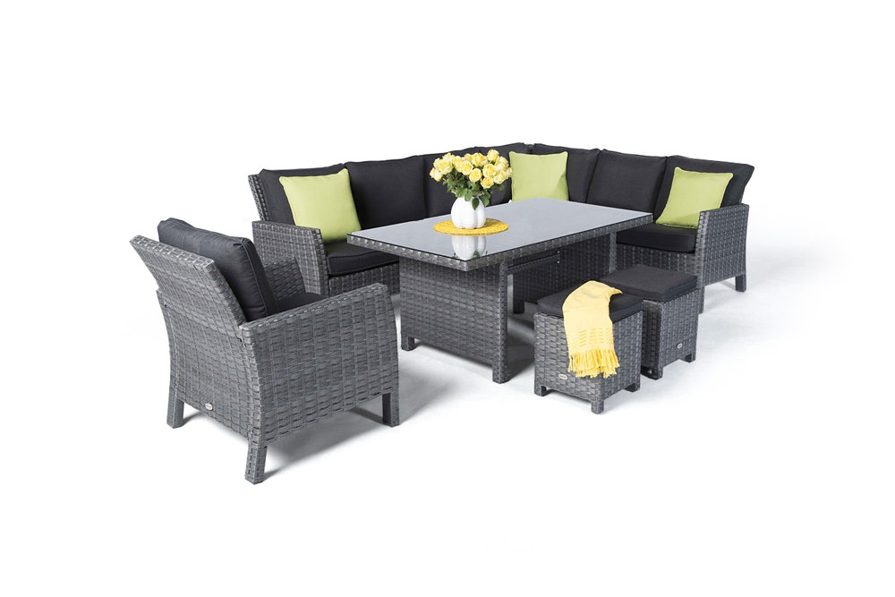 rattan tisch rattan gartentisch lounge dining romeo mix grau. Black Bedroom Furniture Sets. Home Design Ideas
