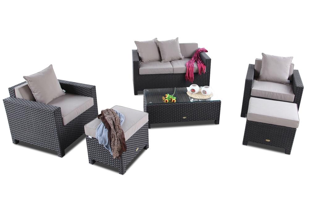 Gartenmöbel Set: Rattan Lounge Samoa in Braun