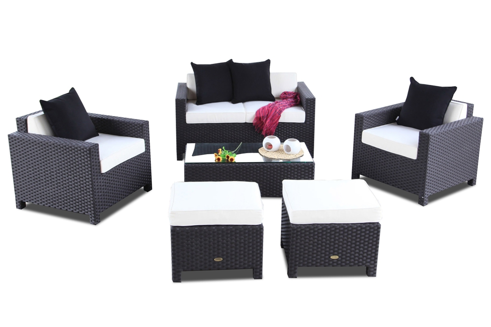 Gartenmöbel Set: Rattan Lounge Samoa in Schwarz