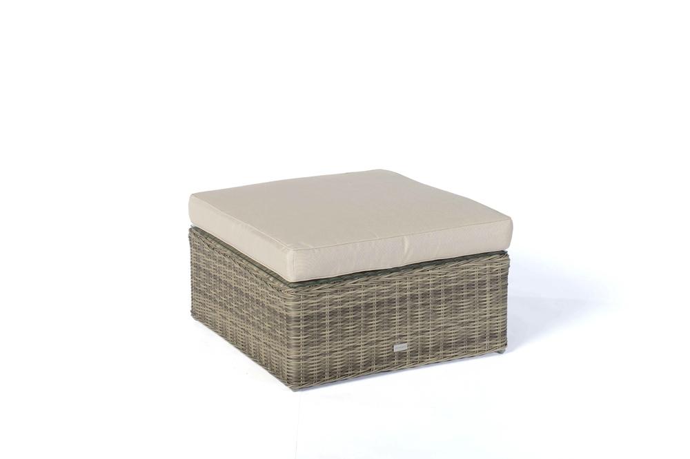 hocker mit polster passend zur rattan lounge santa cruz natural round. Black Bedroom Furniture Sets. Home Design Ideas