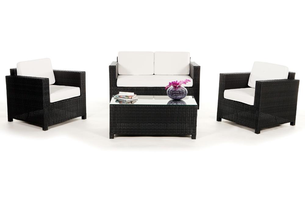 Schwarze Rattan Lounge, Gartenmöbel Set Summertime