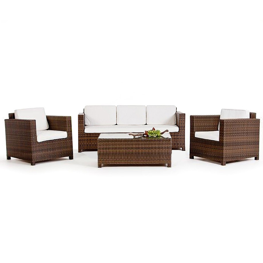 summertime 3er gartenlounge in der farbe braun. Black Bedroom Furniture Sets. Home Design Ideas
