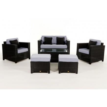 Rattan Lounge Gartenmöbel Polsterbezug Diamond Blue