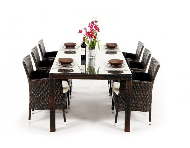 die rattan gartentisch sets sind in verschiedenen farben. Black Bedroom Furniture Sets. Home Design Ideas
