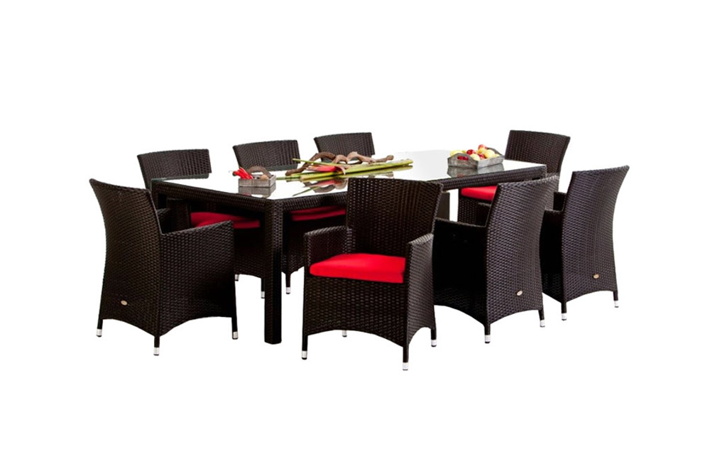 rattan esstisch set 220cm atlanta black. Black Bedroom Furniture Sets. Home Design Ideas