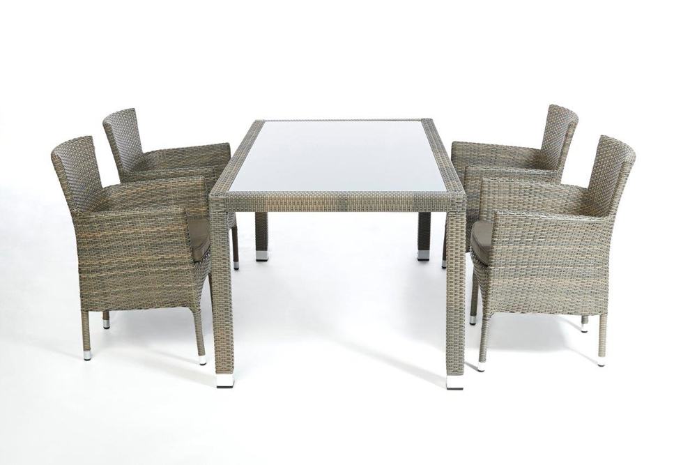 Rattan esstisch set 160cm boston sandstorm for Esstisch set
