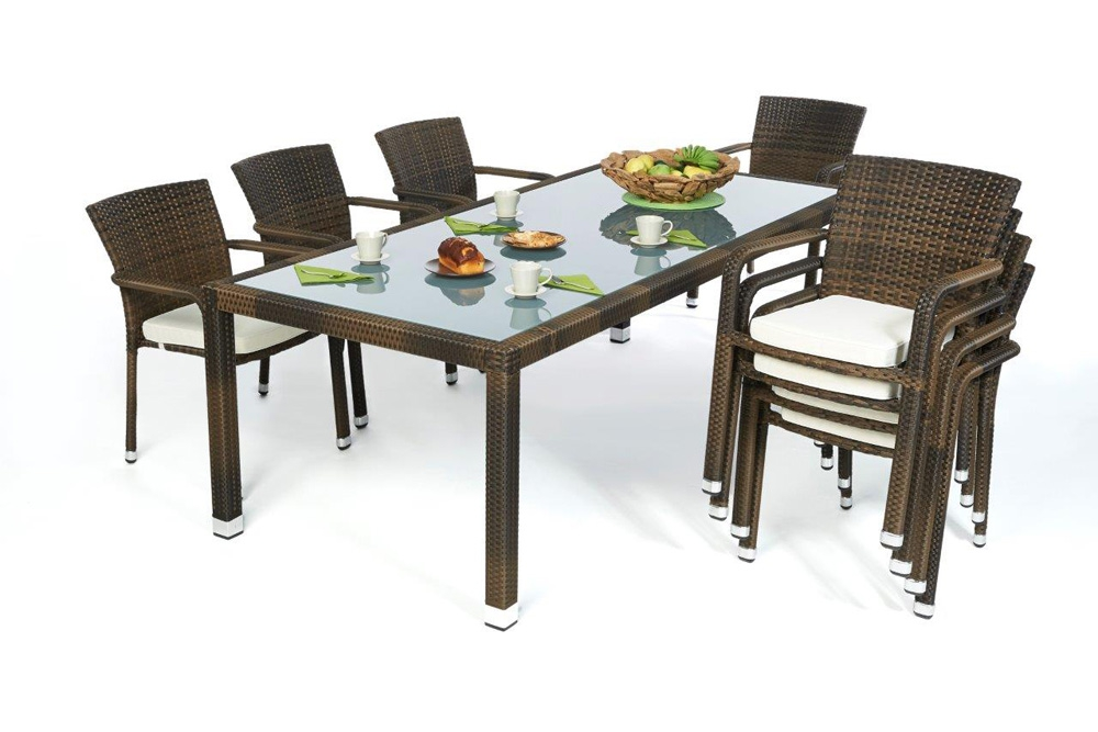 rattan tisch set florida mixed brown. Black Bedroom Furniture Sets. Home Design Ideas