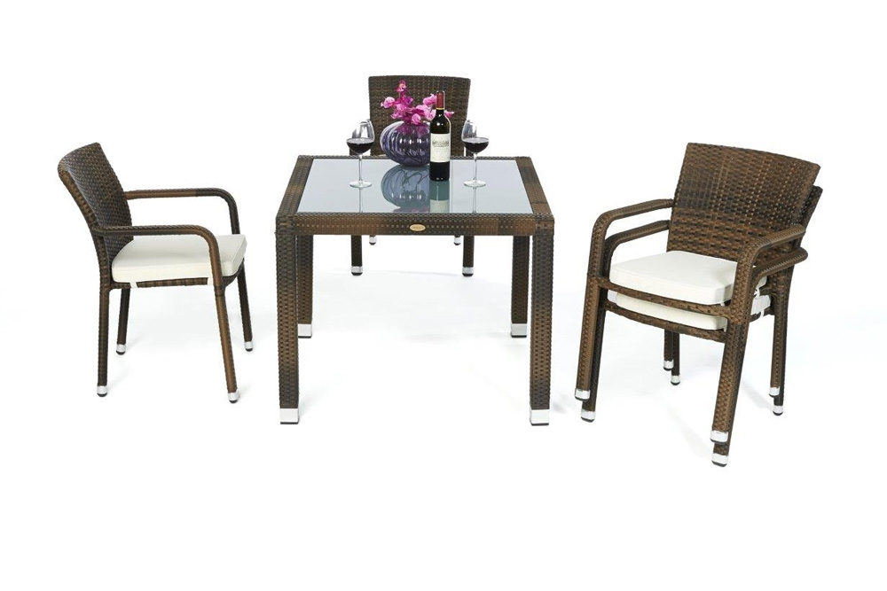 rattan tisch set 90cm florida mixed brown. Black Bedroom Furniture Sets. Home Design Ideas