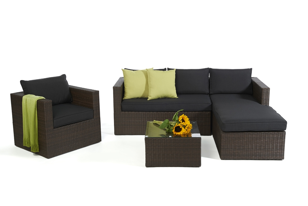 rattan lounge gartenm bel rattan gartenm bel kunststoffgeflecht galicia braun brown. Black Bedroom Furniture Sets. Home Design Ideas