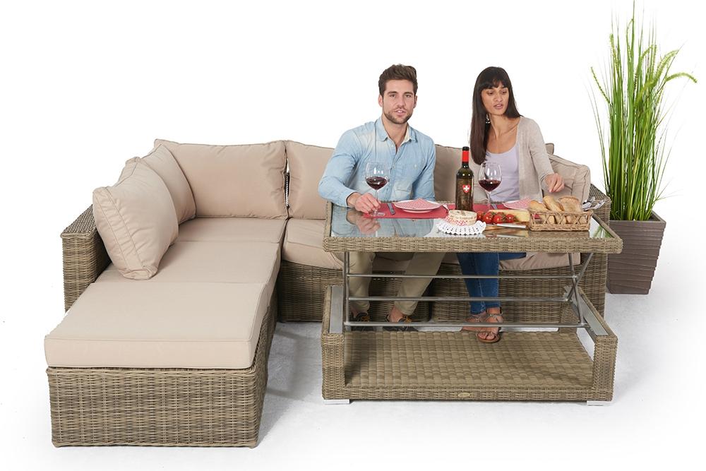 gartenlounge mit esstisch alle rattan gartenm bel elemente sind frei kombinierbar sch ne und. Black Bedroom Furniture Sets. Home Design Ideas