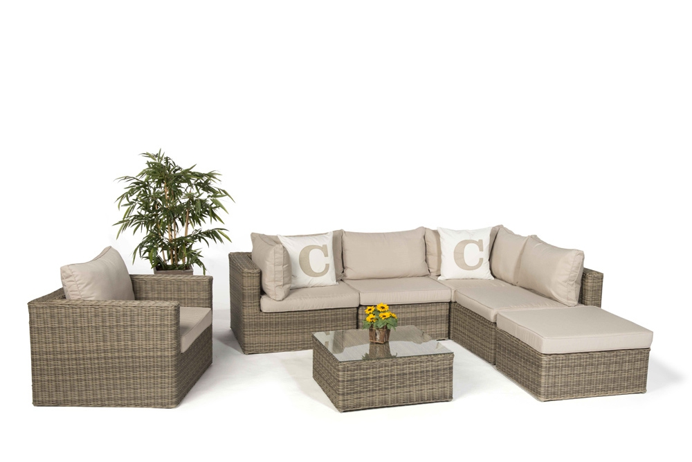Rattan Lounge Good Times natural round Set XL