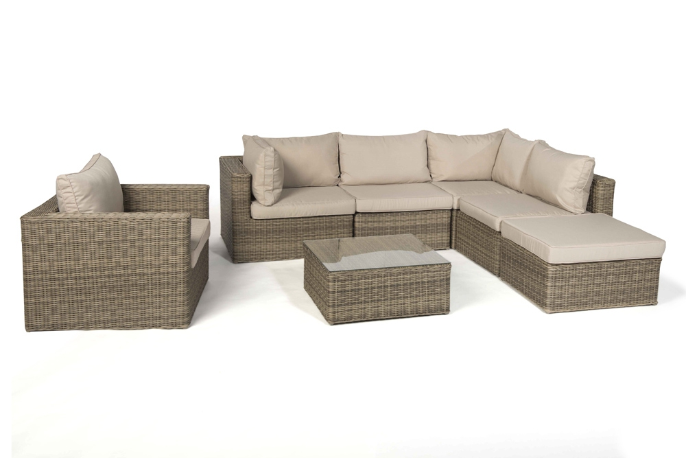 Rattan lounge good times natural round set xl for Lounge gartenmobel rattan