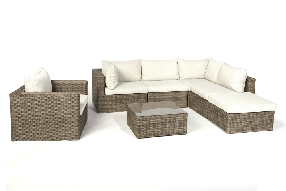 Rattan lounge good times natural round set xl - Gartenmobel lounge rattan ...