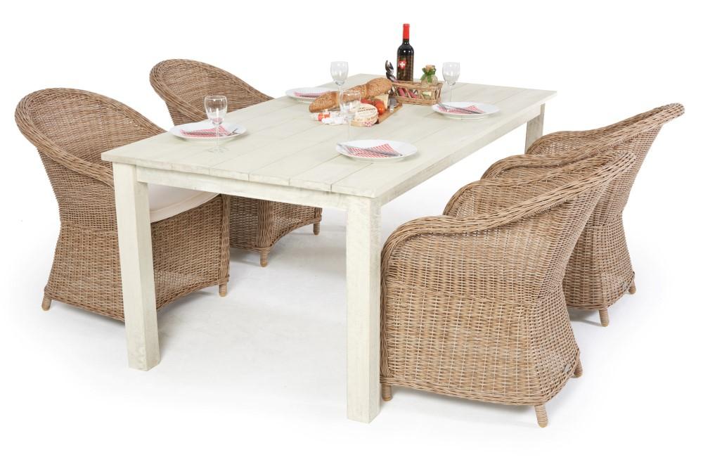 Schöner Holz Tisch mit 4 bequemen Rattan Sessel - Dream Set