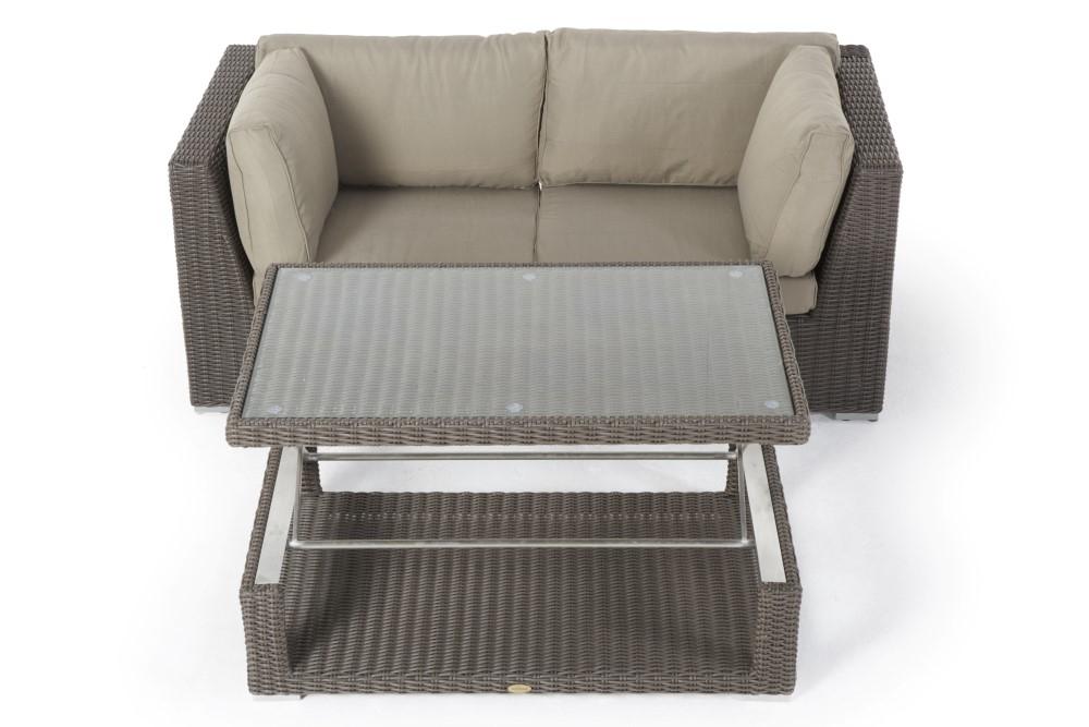 gartenlounge mit esstisch sch ne rattanm bel f r den garten das 2er sofa mit funktion und. Black Bedroom Furniture Sets. Home Design Ideas