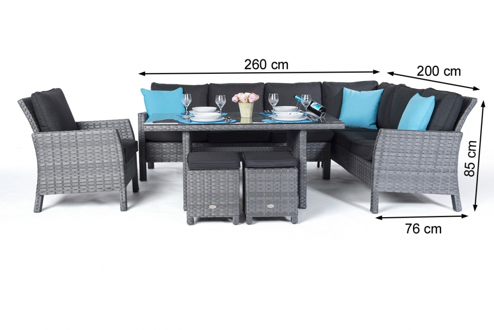 rattan tisch greemotion loungeset new york mit tisch braun inklusive kissen grau ecklounge with. Black Bedroom Furniture Sets. Home Design Ideas