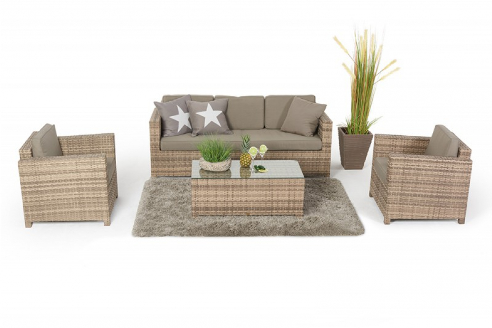 rattan lounge shop bequeme rattanmoebel f r garten und terrasse die summertime 3er rattan. Black Bedroom Furniture Sets. Home Design Ideas