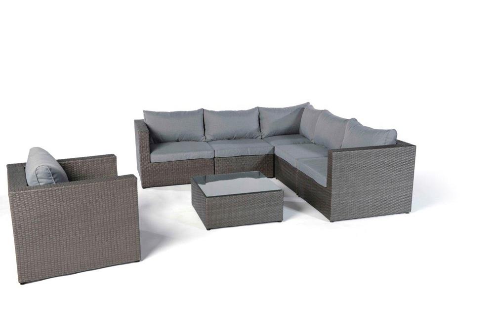 Rattan Gartenmöbel Lounge Monroe mix-grau - Hochwertiges Gartenmöbel ...