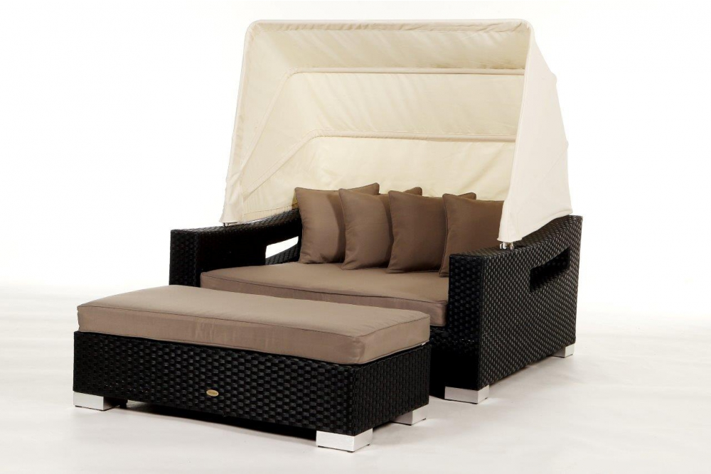 bank mit polster passend zur rattan liege enjoy. Black Bedroom Furniture Sets. Home Design Ideas