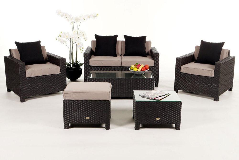 gartenm bel set rattan lounge samoa in schwarz. Black Bedroom Furniture Sets. Home Design Ideas