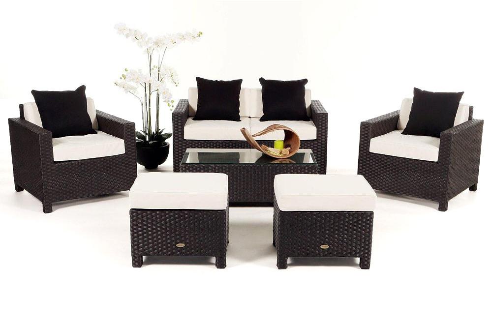 gartenm bel set rattan lounge samoa in braun. Black Bedroom Furniture Sets. Home Design Ideas