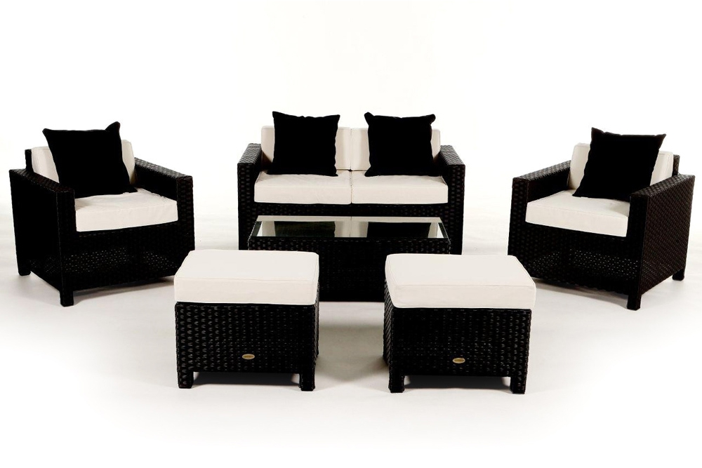 gartenm bel set rattan lounge samoa in schwarz. Black Bedroom Furniture Sets. Home Design Ideas