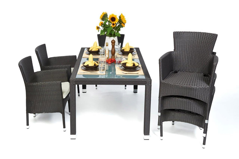 rattan esstisch set 160cm boston dark brown. Black Bedroom Furniture Sets. Home Design Ideas