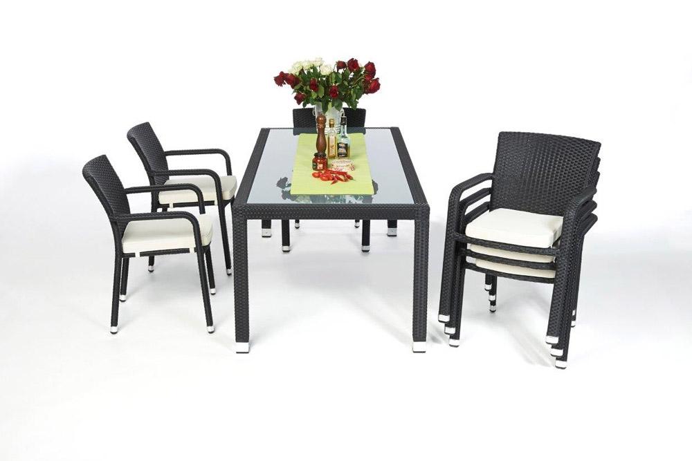 rattan tisch set 180cm florida black. Black Bedroom Furniture Sets. Home Design Ideas