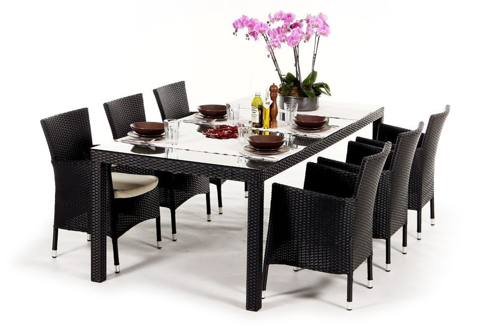 rattan lounge gartenm bel rattan gartenm bel kunststoffgeflecht orchid schwarz black. Black Bedroom Furniture Sets. Home Design Ideas