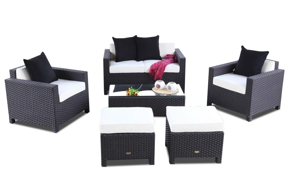 Gartenm bel set rattan lounge samoa in schwarz for Rattan gartenmobel schwarz