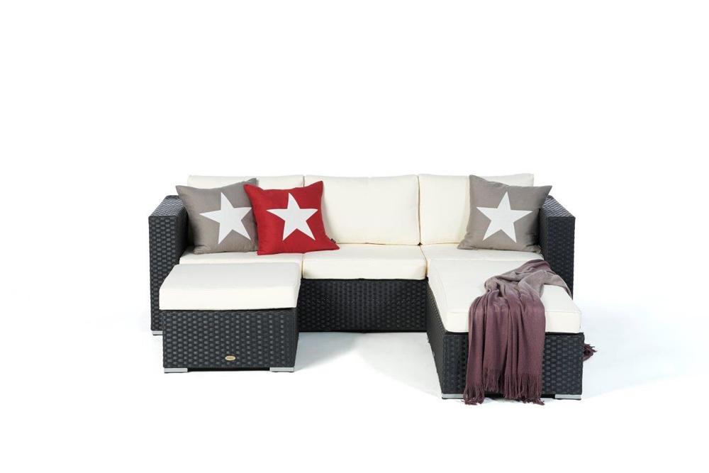Rattan Lounge St. Tropez black - Das moderne Gartenmöbel Set