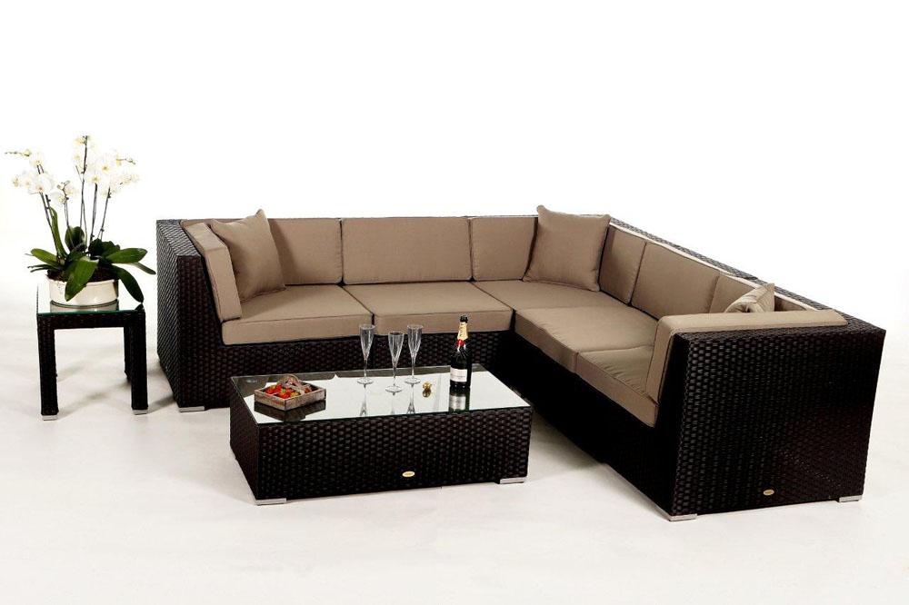 Rattan Lounge meubles de jardin Guadeloupe brun