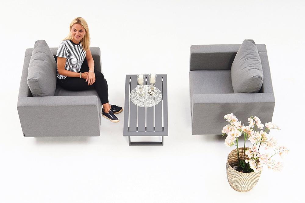 fauteuil outdoor goa set gris