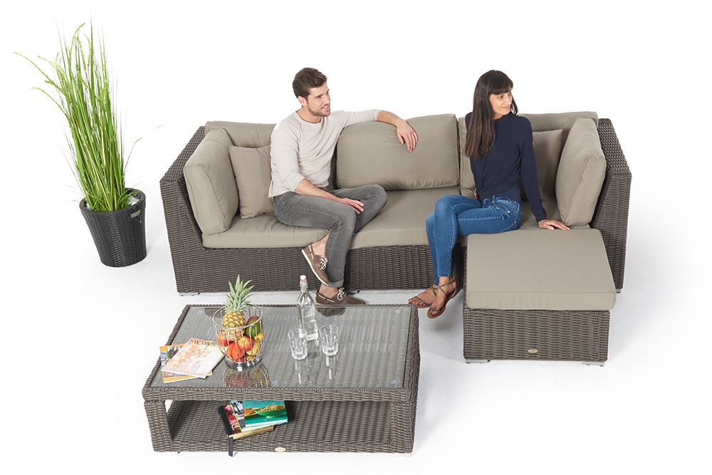 Rattan Gartenmöbel: Allegra 4er Lounge Mit Deko