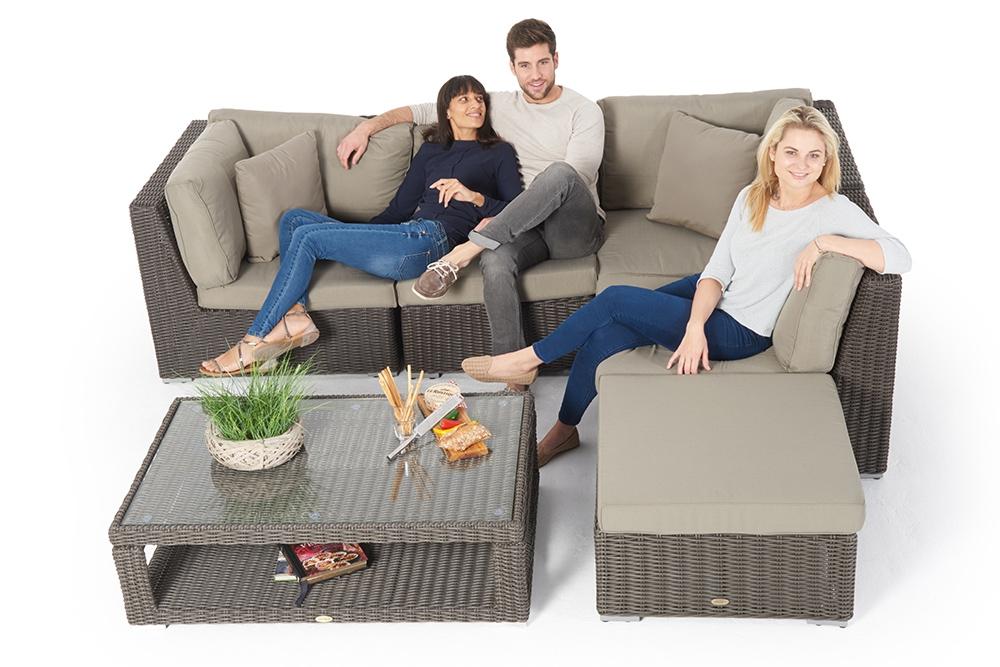 Hochwertig Rattan Gartenmöbel: Allegra 4er Lounge Mit Deko