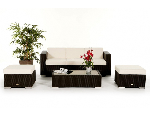 Aurora Rattan Garden Furniture Set Black