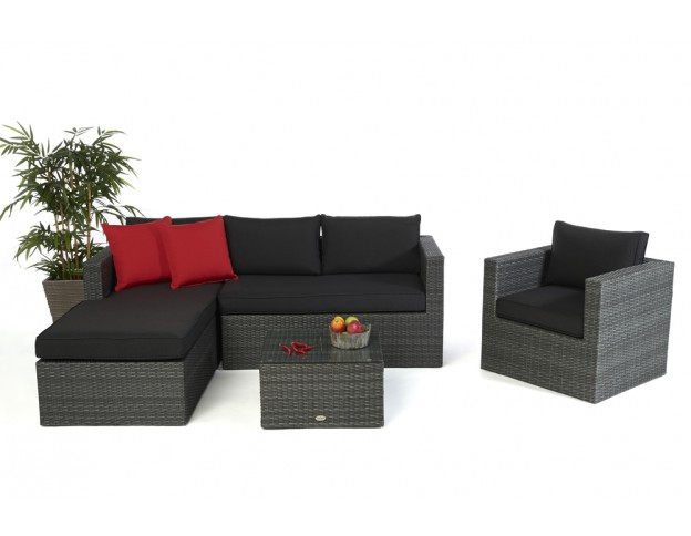 Galicia Rattan Lounge Mixed Grey (right Hand Side)